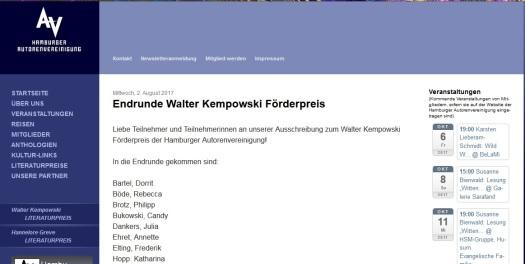 Walter Kempowski Förderpreis 2017 Candy Bukowski
